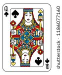 a playing card queen of spades... | Shutterstock .eps vector #1186077160