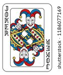 a playing card joker in yellow  ... | Shutterstock .eps vector #1186077169
