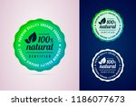 100 percents natural certified... | Shutterstock .eps vector #1186077673