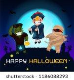 halloween ghosts charector.... | Shutterstock .eps vector #1186088293