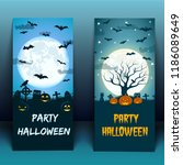 halloween at cemetery banners... | Shutterstock .eps vector #1186089649
