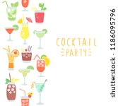 design card with hand drawn... | Shutterstock .eps vector #1186095796