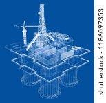 offshore oil rig drilling... | Shutterstock .eps vector #1186097353