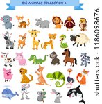 big animals collection set | Shutterstock .eps vector #1186098676