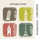 europe icons over beige... | Shutterstock .eps vector #118610053