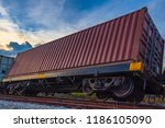 container freight train... | Shutterstock . vector #1186105090