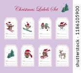 christmas gift tags with owls....   Shutterstock .eps vector #1186105900