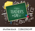 school chalkboard with... | Shutterstock .eps vector #1186106149