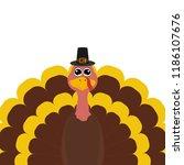 turkey pilgrimin on... | Shutterstock .eps vector #1186107676