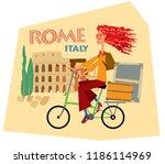 tourist sticker rome italy....   Shutterstock .eps vector #1186114969