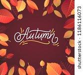 autumn lettering. hand written... | Shutterstock .eps vector #1186116073