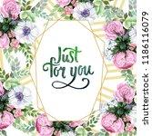 watercolor colorful bouquet... | Shutterstock . vector #1186116079