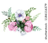 watercolor colorful bouquet... | Shutterstock . vector #1186116379