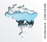paper cut out of brazil map and ... | Shutterstock .eps vector #1186126186