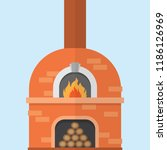 brick pizza oven with fire ... | Shutterstock .eps vector #1186126969
