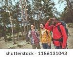 arriving to camp. positive guys ... | Shutterstock . vector #1186131043