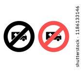 ambulance ban  prohibition icon....