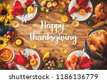 thanksgiving celebration... | Shutterstock . vector #1186136779