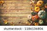 thanksgiving pumpkins with... | Shutterstock . vector #1186136806
