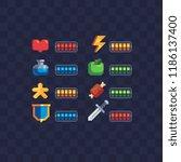 set of 8 bit elements  life bar ... | Shutterstock .eps vector #1186137400