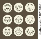 animal icons over brown... | Shutterstock .eps vector #118614088