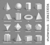 basic 3d geometric shapes... | Shutterstock .eps vector #1186153036