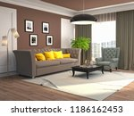 interior of the living room. 3d ... | Shutterstock . vector #1186162453