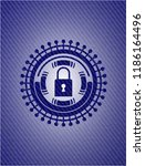 closed lock icon inside emblem...   Shutterstock .eps vector #1186164496