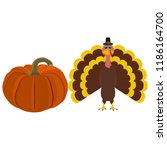 funny peligrimm with a pumpkin... | Shutterstock .eps vector #1186164700