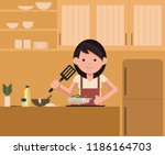 isolated vector. woman standing ... | Shutterstock .eps vector #1186164703