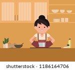 isolated vector. woman standing ... | Shutterstock .eps vector #1186164706