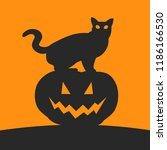 silhouette of cat and pumpkin.... | Shutterstock .eps vector #1186166530
