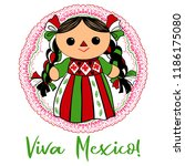 cute mexican traditional doll... | Shutterstock .eps vector #1186175080