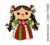 cute mexican traditional doll... | Shutterstock .eps vector #1186175083