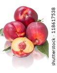 Nectarine - smooth peach. Isolated on white background - stock photo