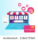 laptop with internet shopping... | Shutterstock .eps vector #1186175560