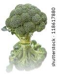 Fresh broccoli isolated on white background. - stock photo