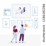 young couple visiting art... | Shutterstock .eps vector #1186182286