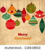 card with christmas balls ... | Shutterstock .eps vector #118618810