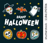 happy halloween card. cartoon... | Shutterstock .eps vector #1186190506