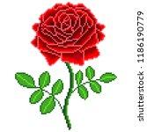 pixel art red rose flower... | Shutterstock .eps vector #1186190779