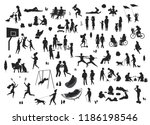 Stock vector active and relaxing people in the city park leisure activities scenes silhouettes set men women 1186198546