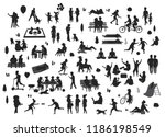 silhouettes of people in the... | Shutterstock .eps vector #1186198549