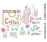 hot and cold drink girlish cafe ... | Shutterstock .eps vector #1186212856