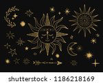sun in space with stars and... | Shutterstock .eps vector #1186218169