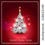 abstract silver christmas tree | Shutterstock .eps vector #118622140