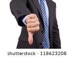 Business failure, businessman gesturing a thumbs down in displeasure - stock photo
