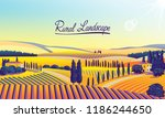 rural landscape with farms ... | Shutterstock .eps vector #1186244650