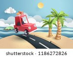 paper art of red car move along ... | Shutterstock .eps vector #1186272826