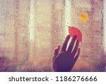 sad autumn background  old hand ... | Shutterstock . vector #1186276666